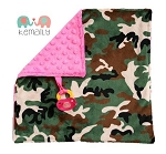 Camo on Hot Pink Double Minky Binky Blanket
